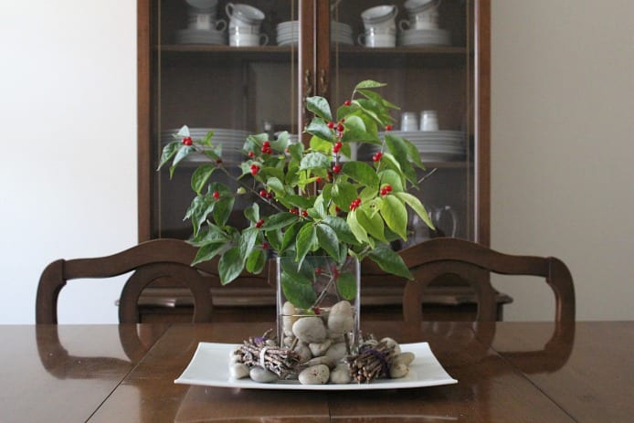 Decorating with Nature: fall berries branch centerpiece