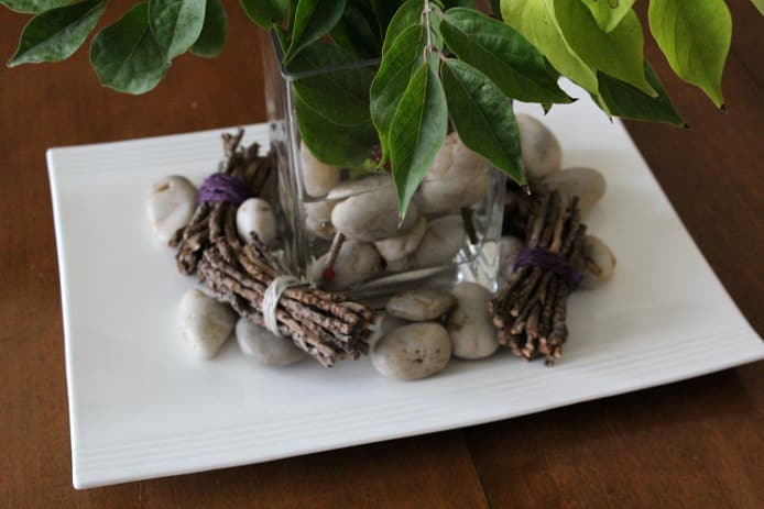 Decorating with Nature: twigs and river rocks