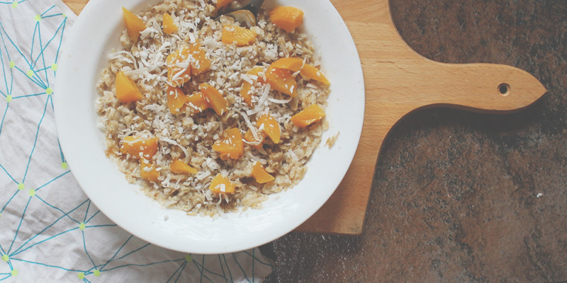 Coconut Milk and Peaches Oatmeal