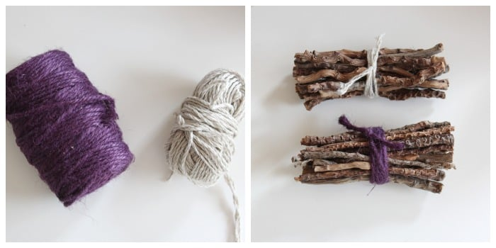 Decorating with Nature: stick bundles with twine