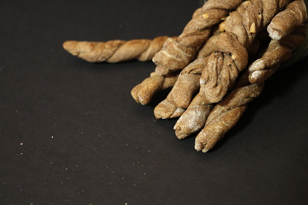 Carob Peanut Butter Dog Twists