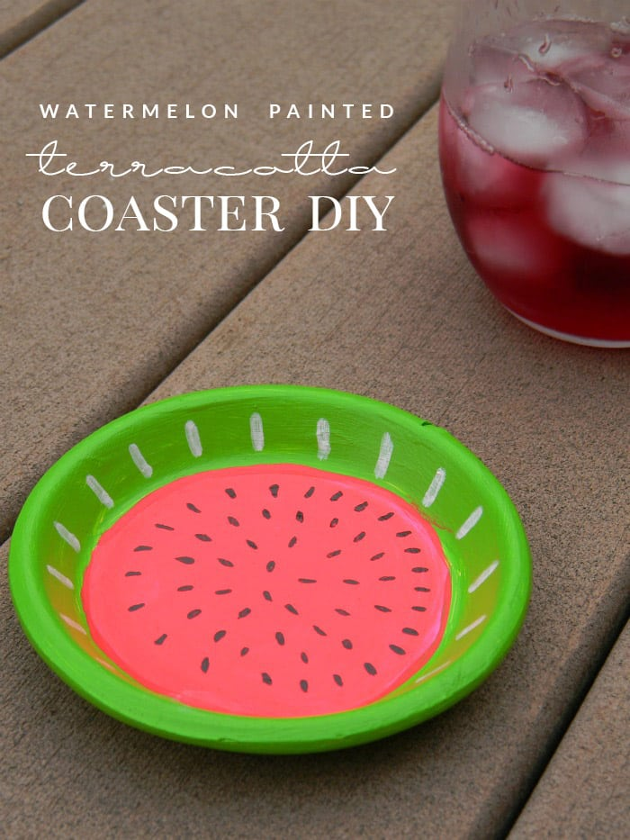 watermelon painted coaster