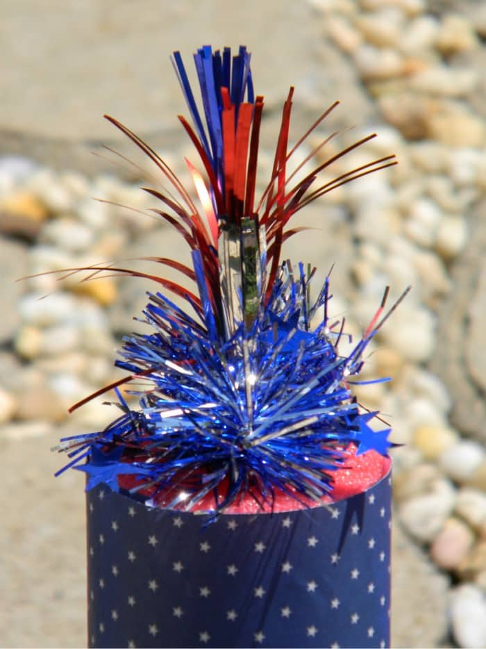 It's time to bust out your craft supplies! This easy pool noodle fireworks DIY is perfect for patriotic holidays! Great to make with kids, too.