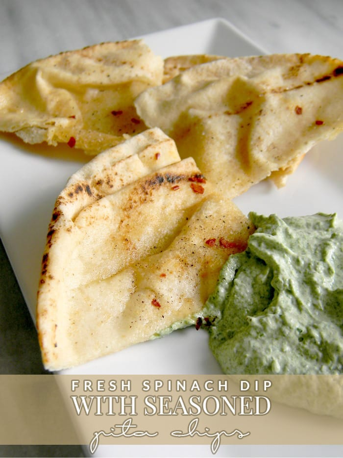 Fresh-Spinach-Dip-with-Seasoned-Pita-Chips