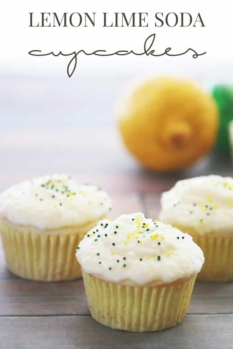 These lemon lime soda cupcakes are super easy to make! Only 6 ingredients total between both the cupcake and the frosting. Perfect for Summer!