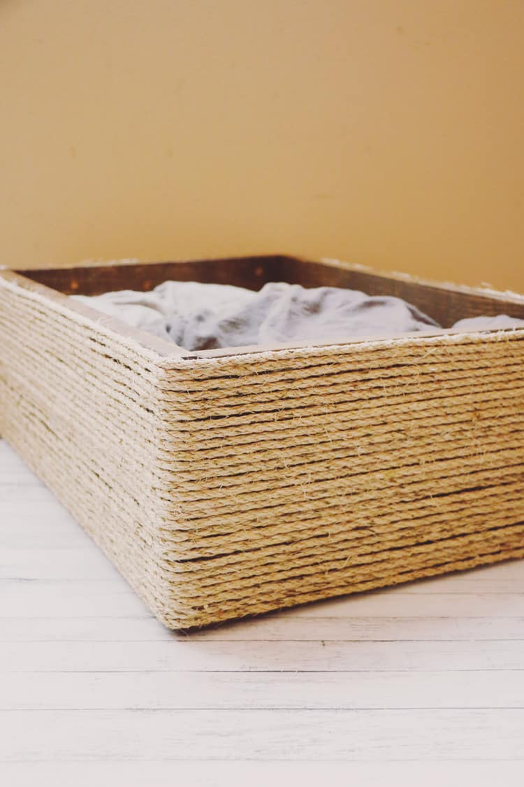 For less than $10, you can create this purrrfect DIY cat bed for your feline friend.