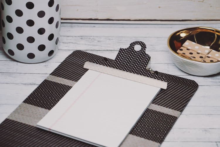 Upgrade your clipboard and stay organized in style with this easy to make washi tape clipboard diy!
