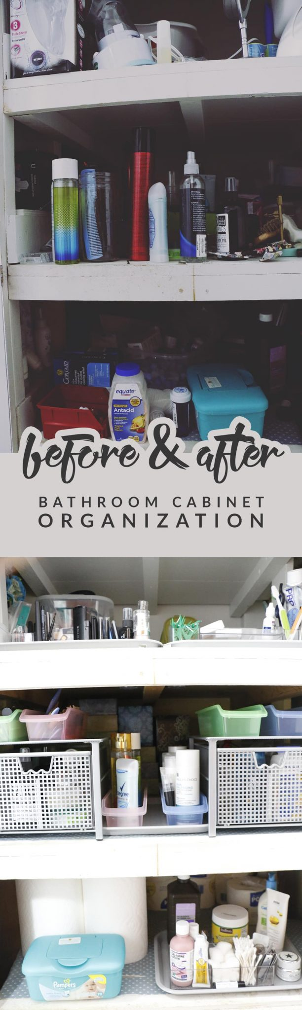 Before After Bathroom Cabinet Organization Renovation Hello