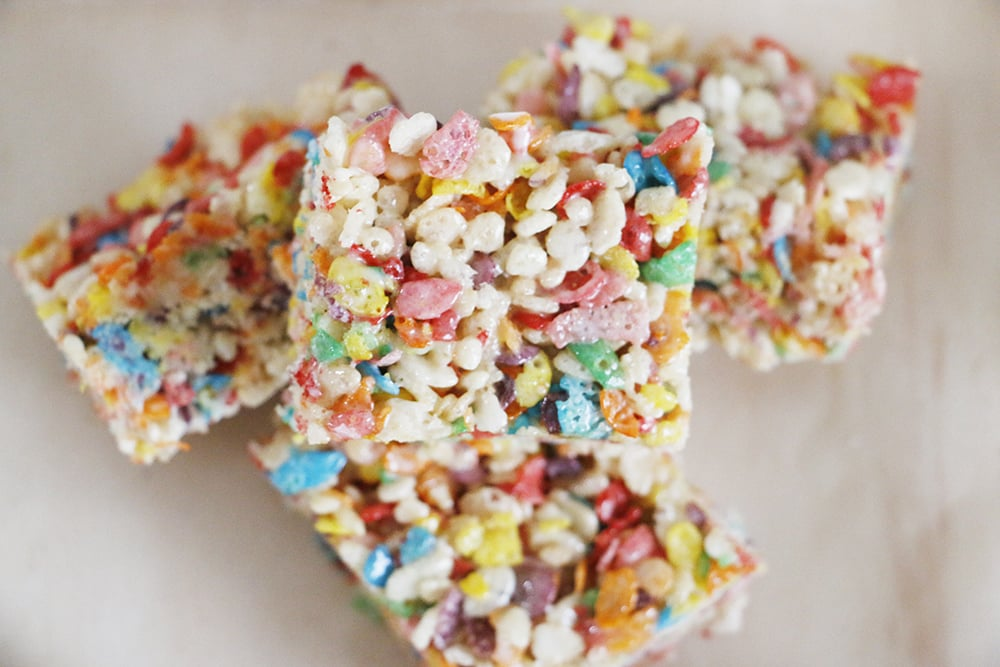 addition to the traditional bars, these Rainbow Rice Krispie treats ...