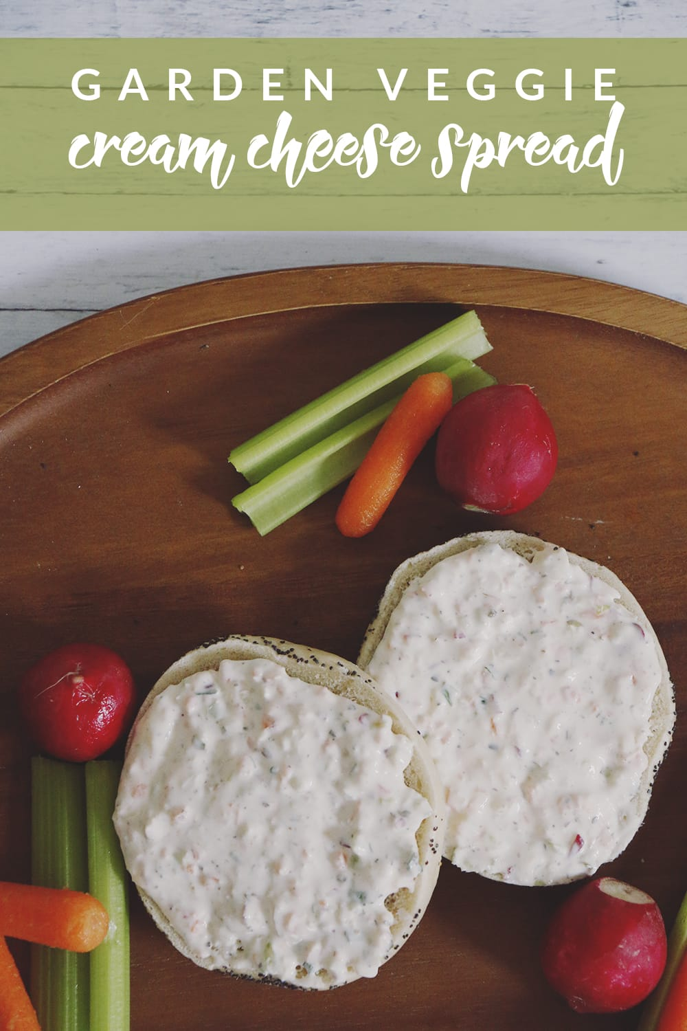 This garden veggie cream cheese recipe is a great way to use your garden vegetables! Use it as dip or spread it on a bagel for a veggie-packed smear!