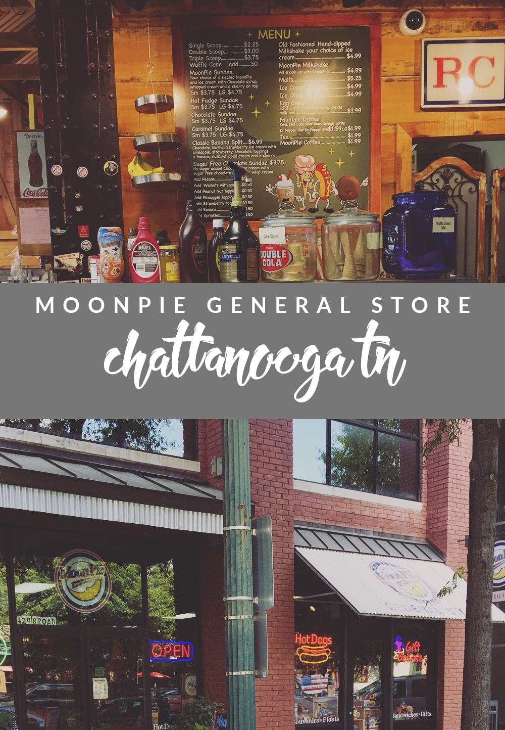 Need a sweet treat when you're in TN? Visit the MoonPie General Store in Chattanooga! Delicious food and moon pies galore!