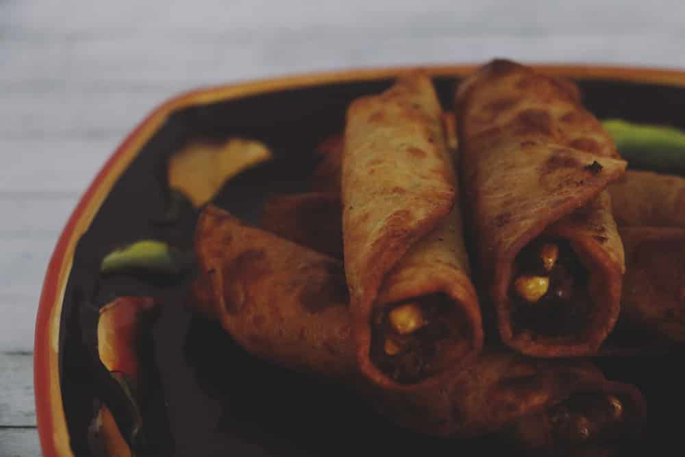 Easy Avocado Corn and Black Bean Taquitos