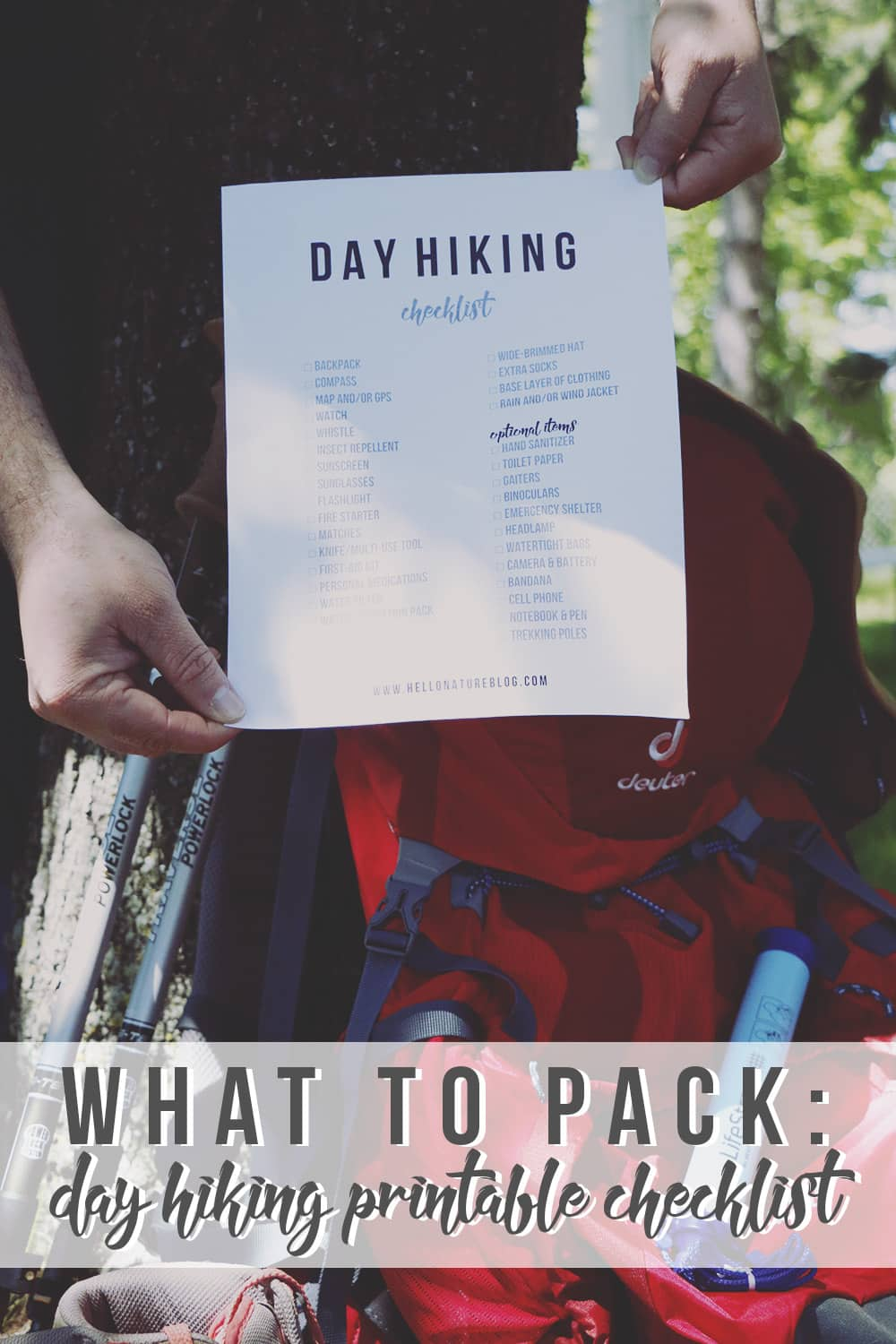 Hiking for the day? Be sure to check off this day hiking printable checklist before you go outdoors to make sure you bring all of the essentials!