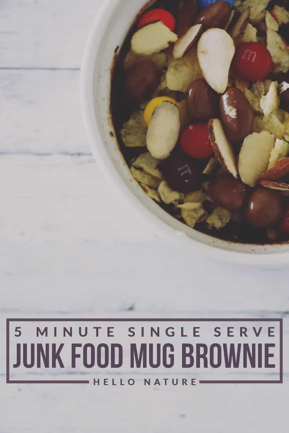 Craving something sweet and salty? This 5 minute single serve junk food mug brownie is the perfect indulgent treat for you to enjoy!
