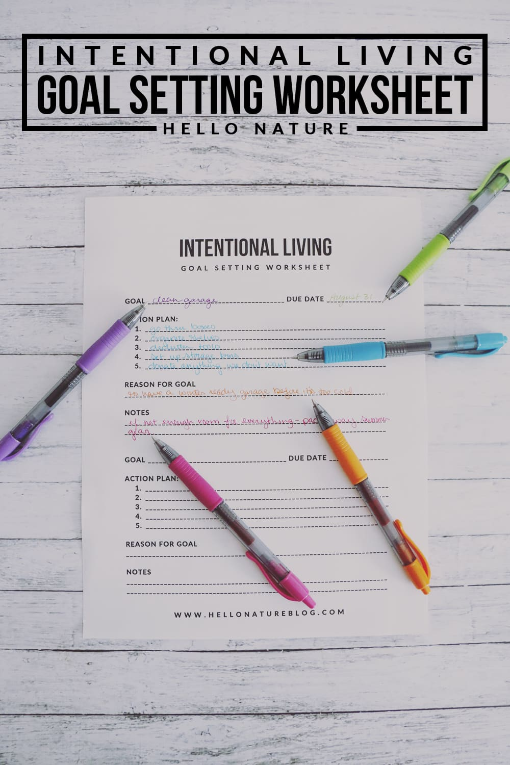 Intentional Living Goal Setting Worksheet Printable Hello Nature – Action Plan Worksheet