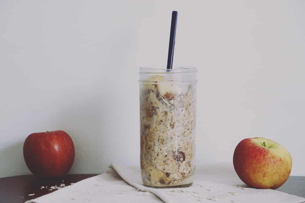 Start your day off right with this simple, protein packed apple peanut butter overnight oats recipe. Great for busy mornings!