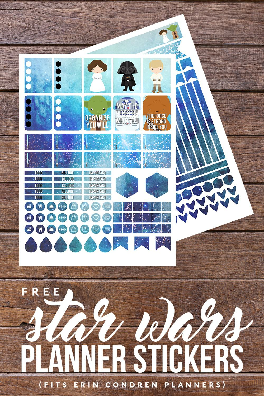 Download these FREE Star Wars Printable Planner Stickers to make your planner out of this world amazing! Fits Erin Condren and Happy Planner!
