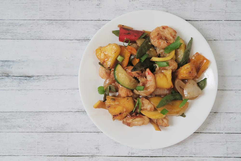 Grilled Teriyaki Shrimp Stir Fry with Pineapple - Hello Nature