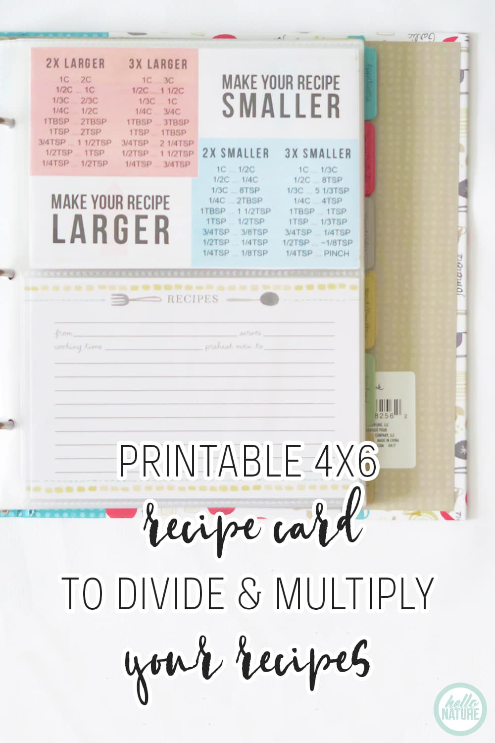 picture regarding Magic the Gathering Card Dividers Printable named Recipe Multiplier + Recipe Divider Printable (+ Recipe