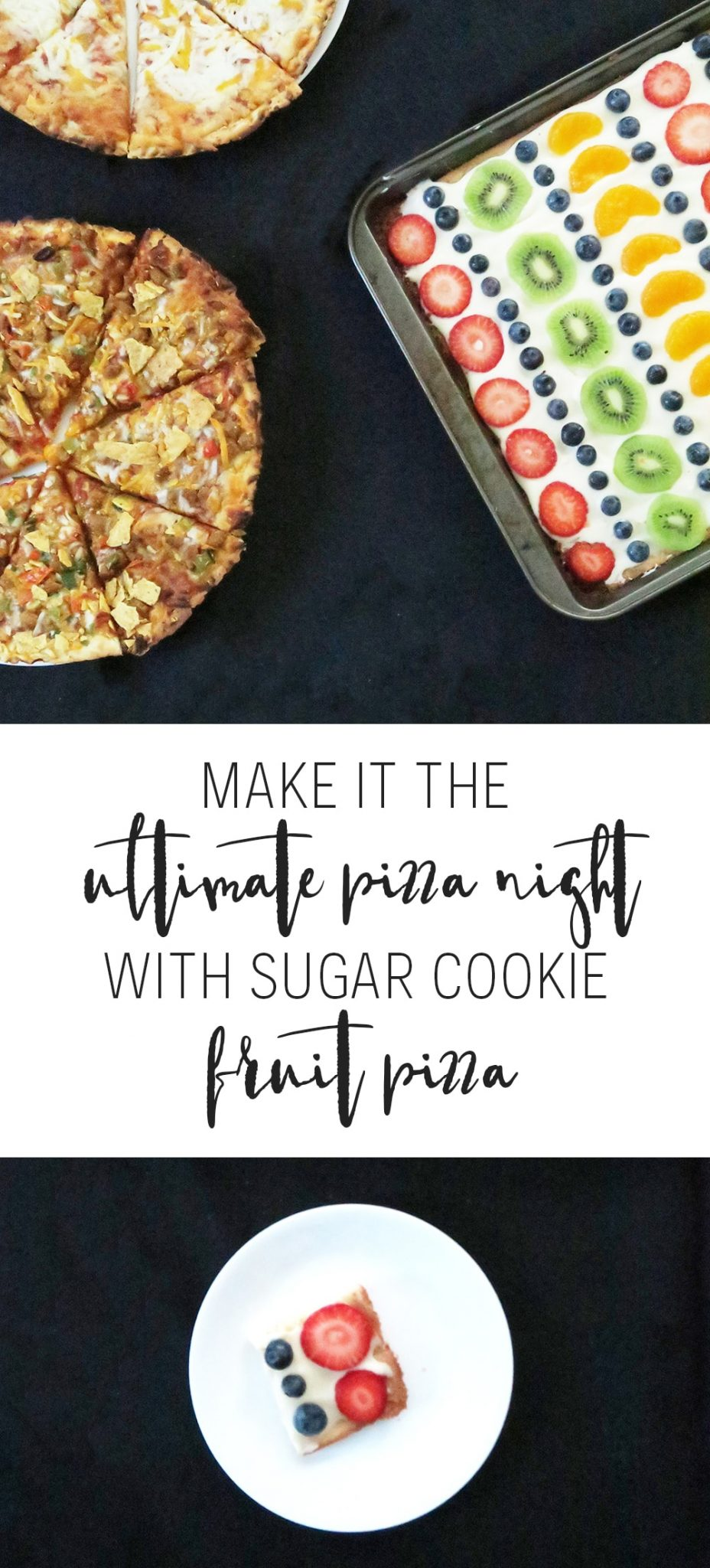 This Sugar Cookie Fruit Pizza recipe is a must-make for pizza night! It'll feed a crowd and it's super easy. This is a dessert you won't want to miss!