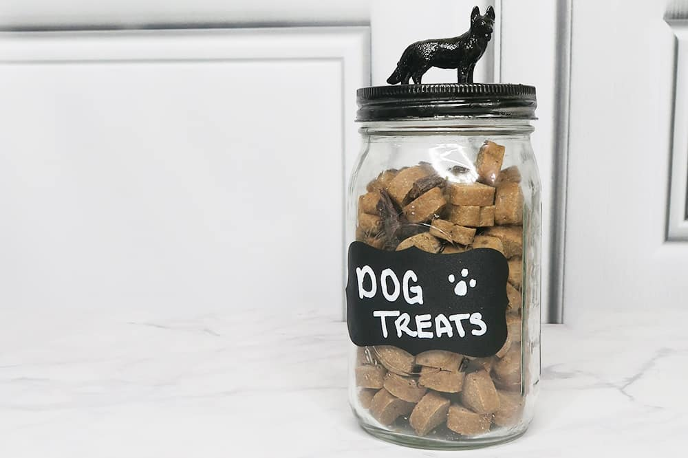 With just a few supplies, you can make this dog treat jar DIY. Keep for your furry friend or give it as a gift to a fellow dog lover!