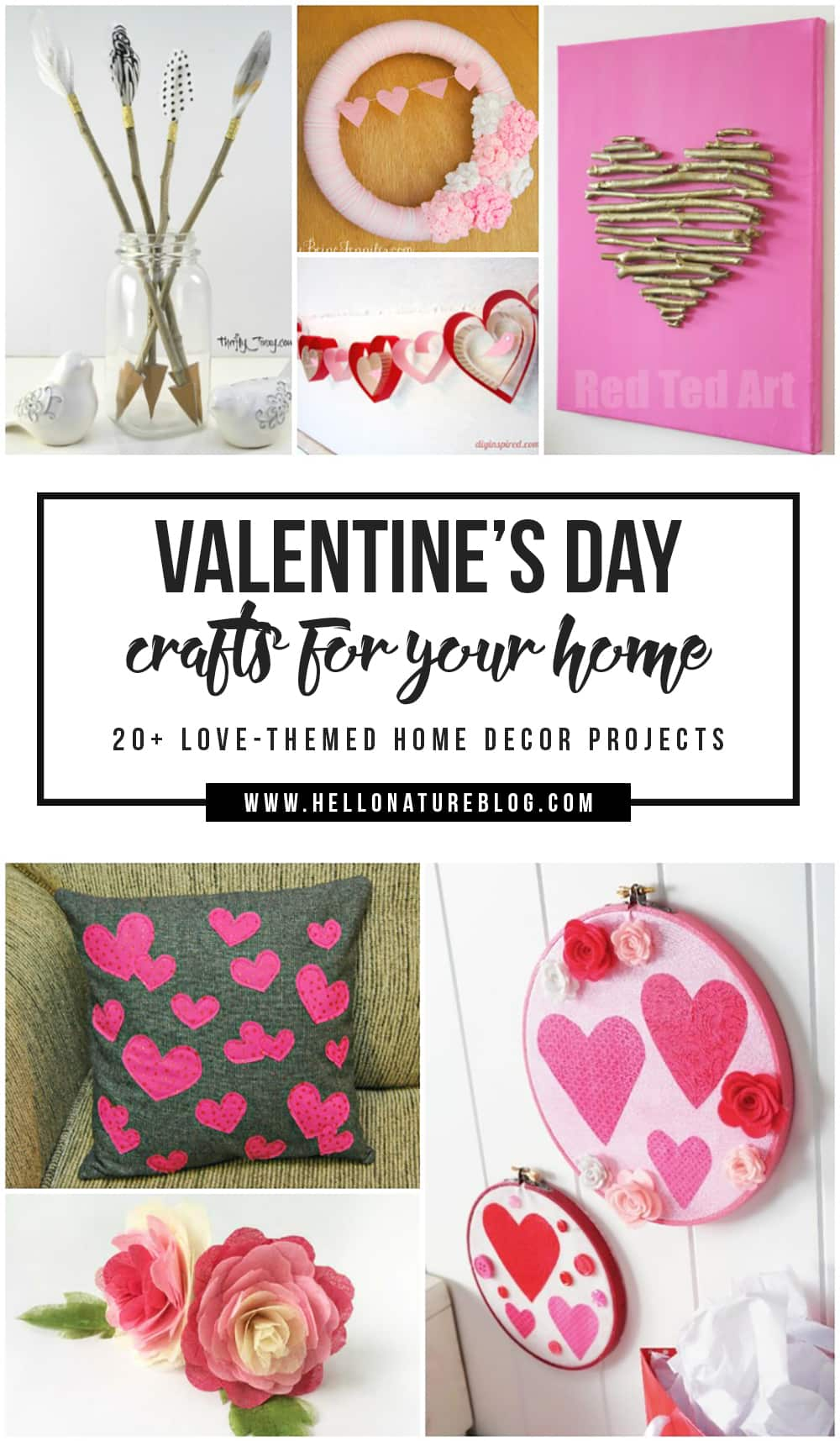 Everyone always talks about the flowers and candy for this sweet holiday. But what about your house? I'm sure it could use some extra lovin', too! Use these Valentine's Day crafts for your home to add some love-themed accents to it this Valentine's Day.