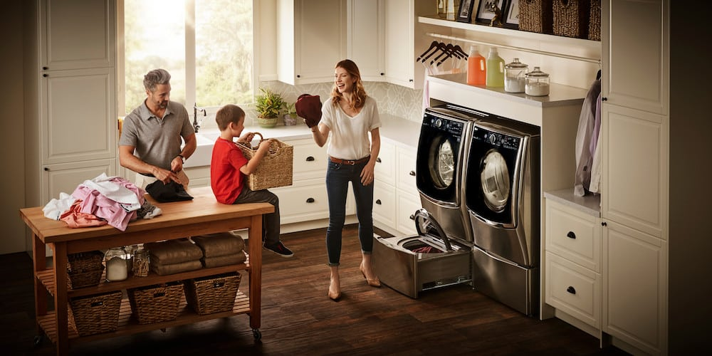 Looking to wash two loads of laundry at the same time in record time? Then the LG Twin Wash System with the LG SideKick is for you!