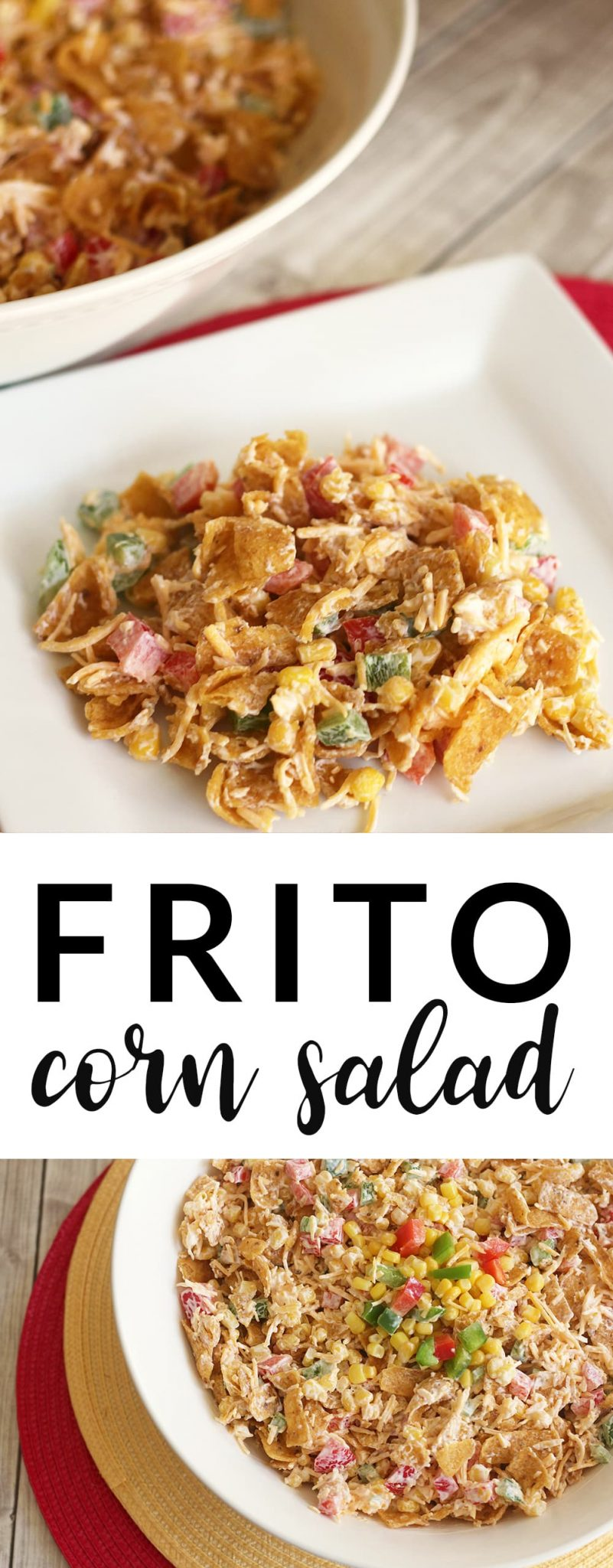 Frito Corn Salad is a summer snack that is perfect for picnics, backyard barbecues, potlucks and more. It's creamy and salty with just the right amount of crunch! A huge hit for the whole family! #FritoCornSalad #Picnic #Barbecue #CampingFood #Potluck