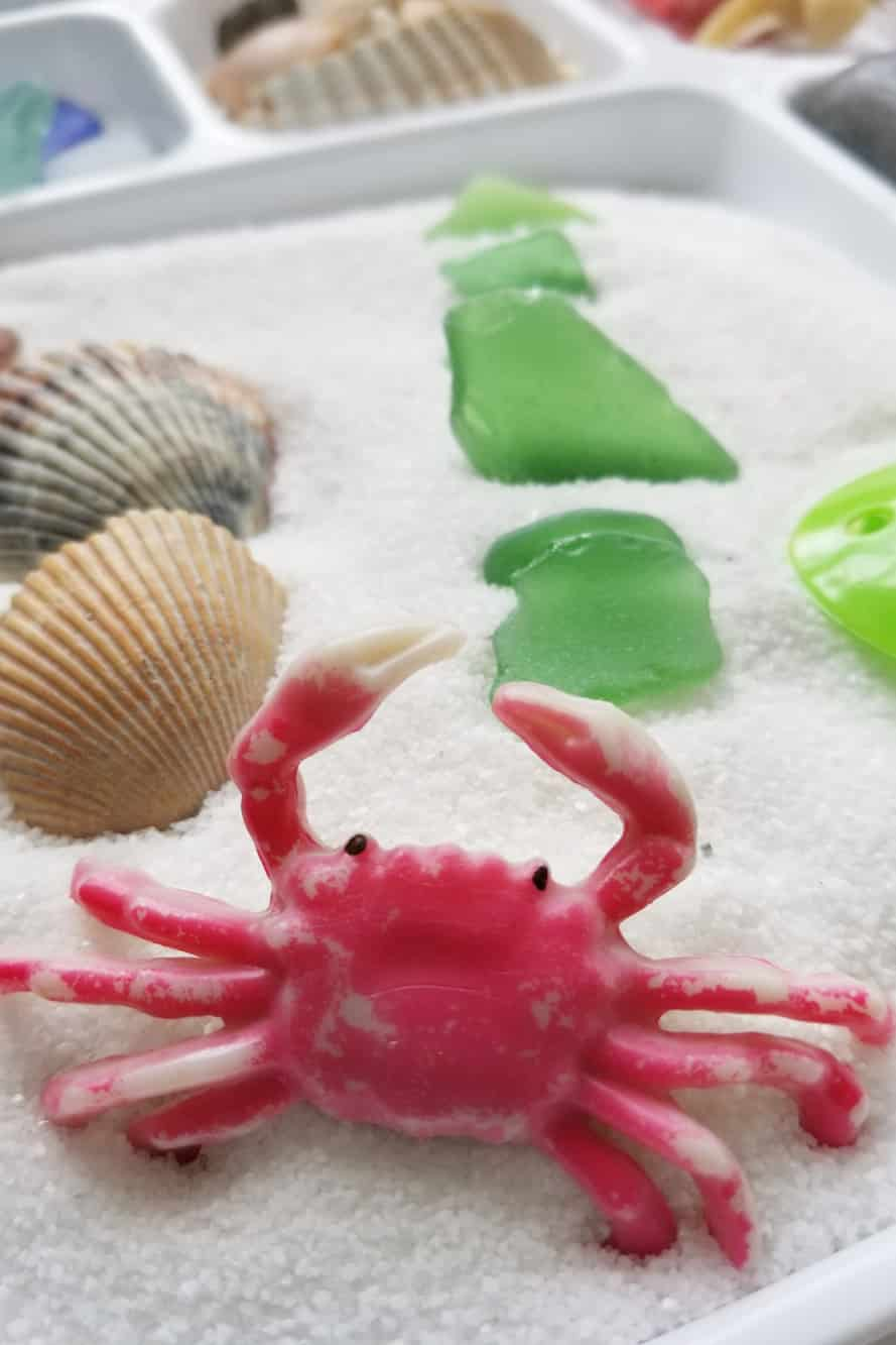 Looking for easy indoor toddler activities? This Beach Sensory Bin is a great way to explore nature with children and keep them entertained inside!