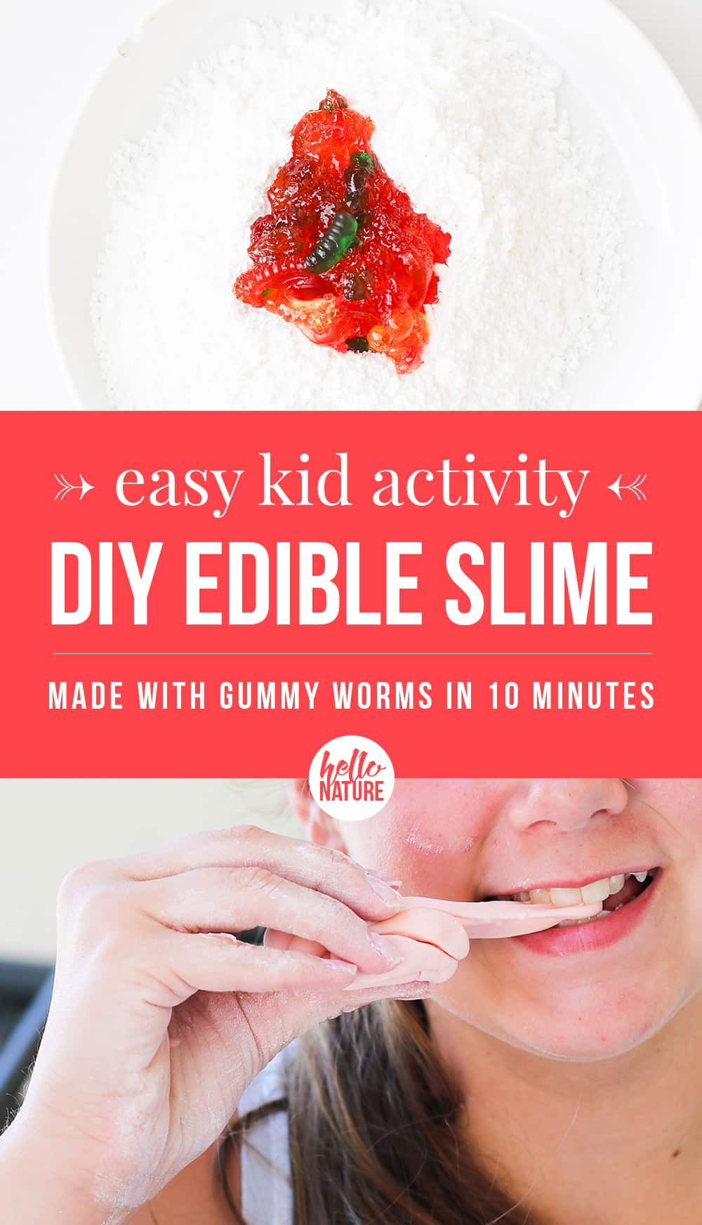 Edible slime is easy to make with just a few ingredients. Learn how to make this easy slime recipe in less than 10 minutes. Gummy worm lovers can't miss this fun kid activity! #EdibleSlime #SlimeDIY #EdibleCrafts #ToddlerActivities #KidActivities #IndoorKidActivities #RainyDayActivities #3Ingredients #Slime