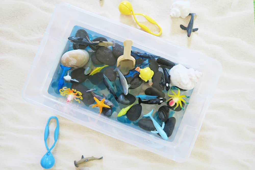 Looking for easy shark week activities for kids? This shark sensory bin is the perfect way to explore the ocean indoors. This simple toddler activity will make a huge splash this summer!