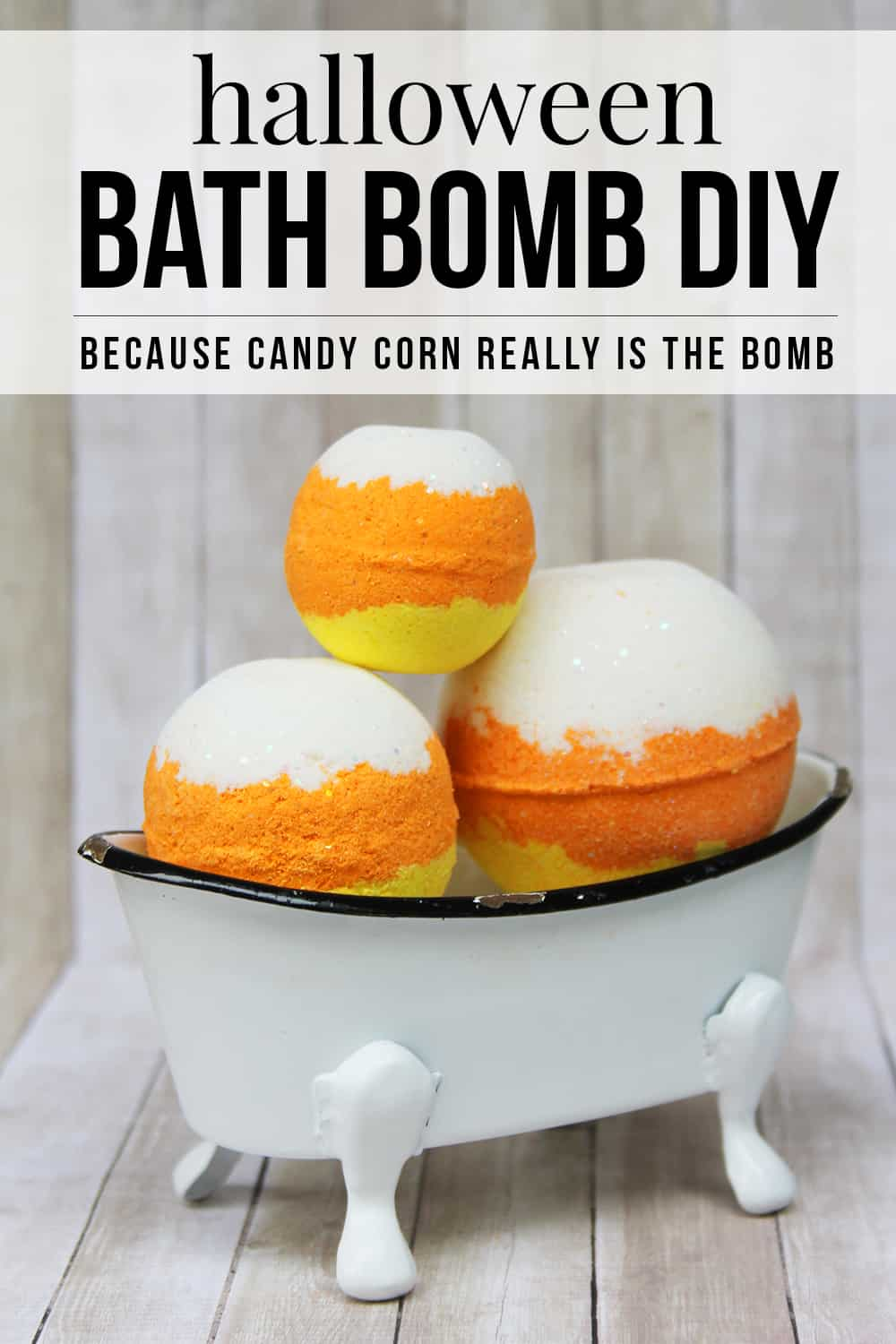 This unique non-candy Halloween party favor idea cannot be missed! This Candy Corn Bath Bomb DIY includes step-by-step instructions and is a super fun Halloween candy corn craft idea. You'll want to make these for yourself and toss them in your Halloween treat bags! #Halloween #CandyCorn #BathBomb #BathBombDIY #HalloweenParty #HalloweenPartyFavor