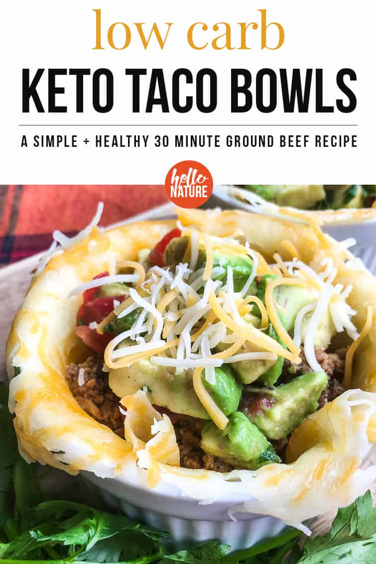 Are weeknight meals getting boring or unhealthy? I've got a delicious low carb ground beef recipe that you won't want to miss: Keto Taco Cups with Avocado Salsa. It's an easy Keto friendly recipe that is easily one of my favorite healthy meals under 30 minutes because the whole family loves it! #LowCarb #Keto #Ketogenic #KetoDiet #CheeseCups #KetoTacos #KetoTacoBowl #LowCarbDinner #WeeknightMeal #30MinOrLess #30MinuteMeal #LowCarbMexican #LowCarbBeefRecipe