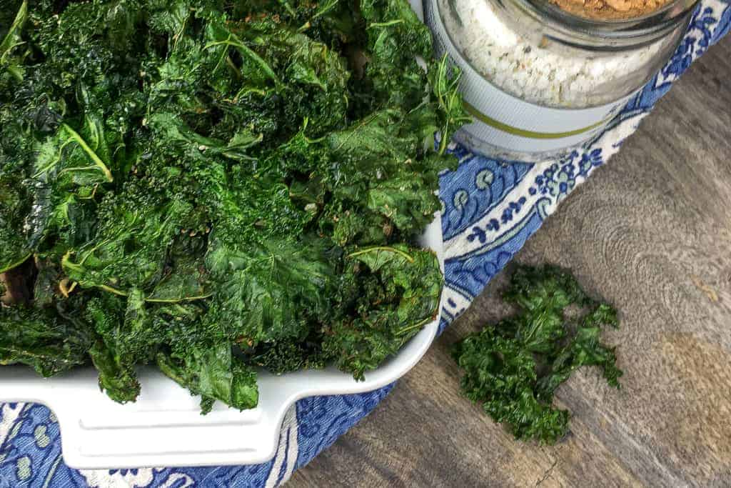 Learn how to make, cook, and store crispy kale chips. It's a healthy snack that can be customized for the whole family.