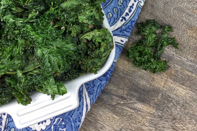 Make these crispy kale chips with just a few ingredients! It's an easy healthy kale recipe that the whole family will love. *