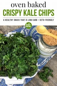 Want to learn how to make crispy kale chips? This easy keto chip recipe will become your new favorite healthy snack in no time! It's a great healthy kale recipe and can be made in less than 20 minutes. #KetoChip #KaleChip #CrispyKaleChip #HealthyEating #HealthySnack #Keto #KetoFriendly #LowCarb #LowCarbSnack #KetoSnack #KaleRecipe