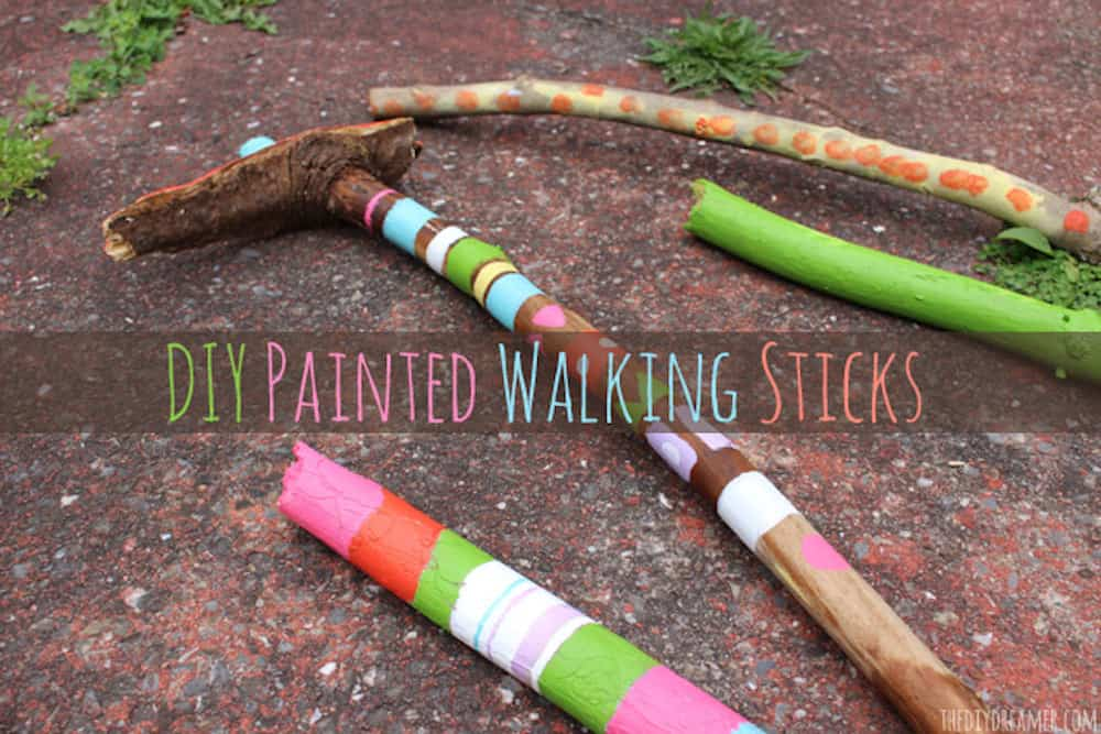 DIY Painted Walking Sticks