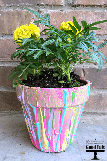 Paint splatter terracotta pot planter.