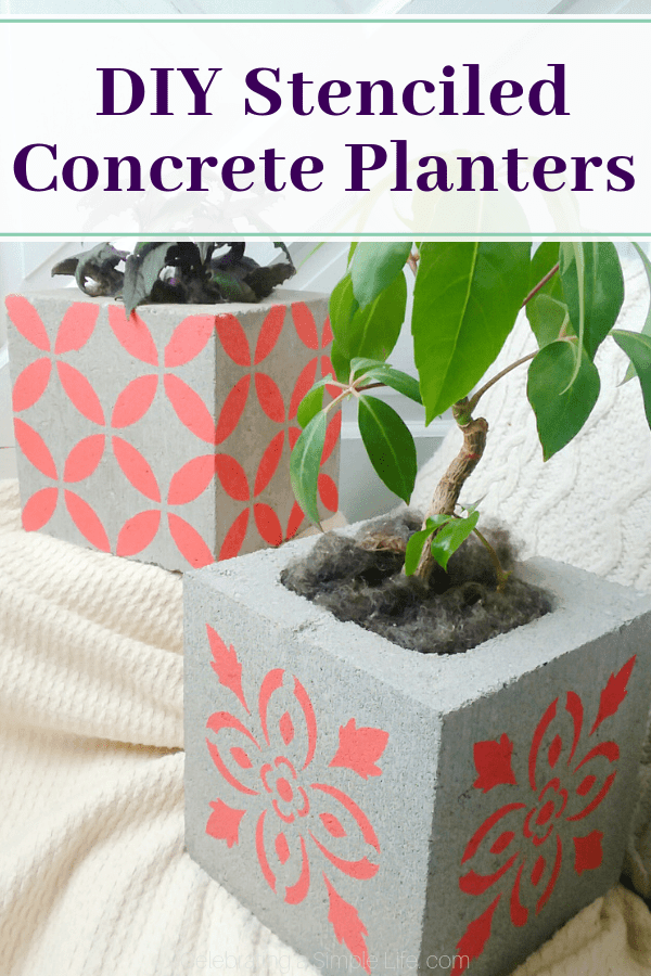 Concrete block planter with painted with stencils.