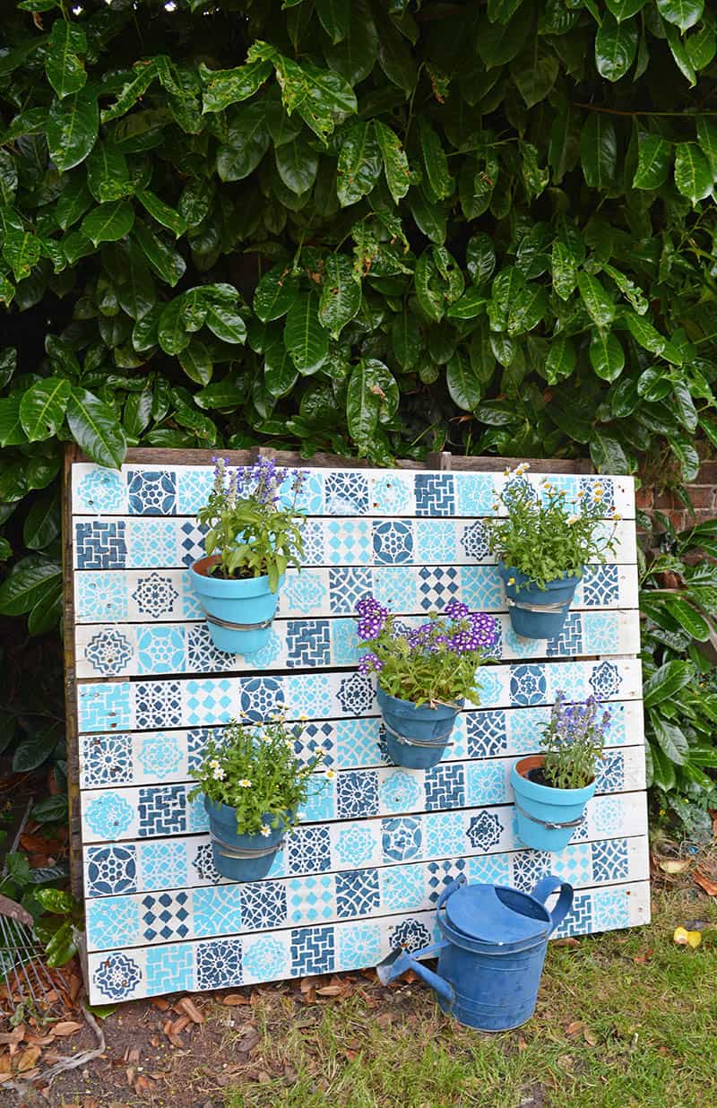 Moroccan stenciled pallet planter.