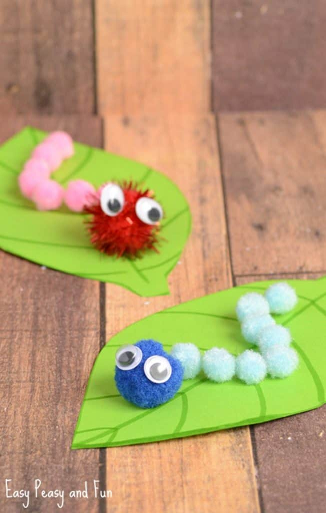 caterpillar pom pom spring paper craft