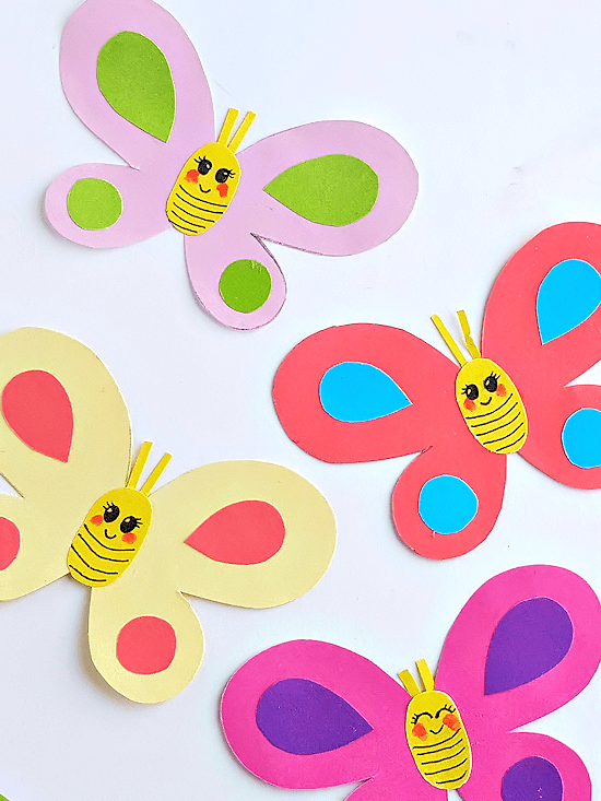 Multi-colored butterflies made from paper
