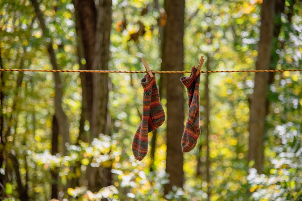 Hang drying socks